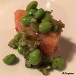 Ristorante SHIKAZAWA - 秋鮭と夏豆とオリーブのマリネ