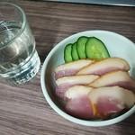 ニューカヤバ - 日本酒(200円分)、合鴨(250円)