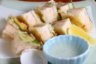 明日香 下北沢店 - レンコンの海老すり身はさみ揚げ。海老しんじょうの滑らかさもいい