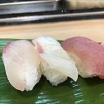 みわ寿司 - カンパチ、鯛、鮪(2018.8.26)