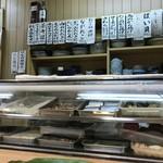 みわ寿司 - カウンター前のネタケース(2018.8.26)