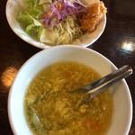 91576864 - ランチセットのスープとサラダ