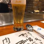 ステーキランド神戸館 - まずはビールで喉を潤して・・・