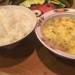 焼肉の白川 - ご飯(大)と卵スープ