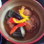 91584081 - 変わり鉢:鶏と茄子の甘酢あんかけ