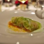 富小路 やま岸 - ⑥前菜<PAGES>天草の黄金鱧をトマトで包んで、ンドゥイヤを辛みをアクセント。