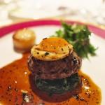 富小路 やま岸 - ⑨肉料理<スガラボ>黒毛和牛のハンバーグに小かぶ、トリュフのソース。