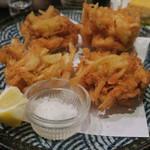 魚酒場 汐◯ - 白海老と新玉葱のかき揚げ