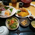 北浜の和がや - お造り&ミックスフライ定食1480円(多分)