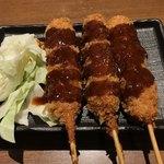 麺場居酒屋 ラの壱 - 生ビールセットの串カツ