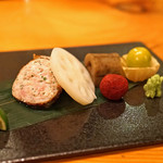 日本料理 たかむら - 比内地鶏の首皮包み焼