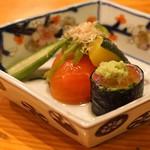 日本料理 たかむら - 北海道産イワシ巻 生姜のジュレと山葵を添えて