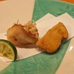 日本料理 たかむら - 松茸のフライと甘鯛の松笠揚げ