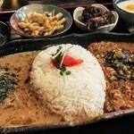 91635492 - 揚げナス納豆テルダーラにトマトとピーマンのガラム鶏キーマ&ディルとライムのアジアンマグロカレー