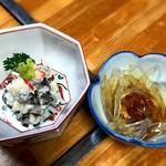 福の家 - ハタハタ寿司と突き出し(自家製ところてん)