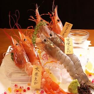 海老を存分に楽しむ!刺身食比べ・酔っぱらい海老・海老しゃぶ