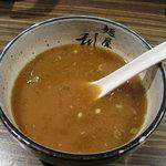 麺屋 利休 - 麺屋 利休:つけ麺 あつもり(中盛り) スープ割り