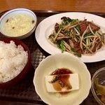 天福飯店 - 豚のレバとニラ炒めセット