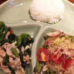 ピンク・エレファント - ポークと青菜の辛口オイスターソース炒め、豚ひき肉と春雨サラダ。980円でスープ、サラダ付き。ご飯少なく見えますが普通盛りです。オカズの盛りが良い!