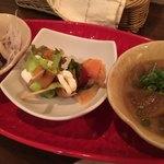 バルンバルン - 料理写真:左から「地蛸の柚子胡椒マリネ4」・「スモークサーモンとクリームチーズのピンチョス」・「牛すじと大根のどて焼き」