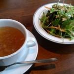 91699114 - ランチセットのスープとサラダ