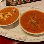 アヴァタール - チキンカレー(左)と野菜カレー(右)