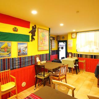 異国情緒を満喫して…◇ボリビアの国旗色でまとめた鮮やかな空間