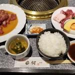 肉の割烹 田村 - 料理写真:ランチ牛サガリ定食+味付生ラムジンギスカン(税別1,000円+700円)