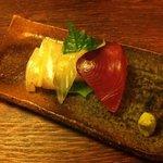 竹亭にしき - ランチの前菜お造り3種盛り