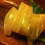 竹亭にしき - 知多産のひいかとスズキ(前菜お造り3種盛り)