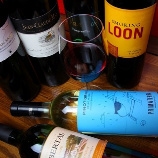 ボトルワイン常時50種類以上1900円〜