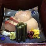 八重さわ - 料理写真:縞鯵、鮃、槍烏賊、蕨