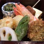 八重さわ - 白ボタン海老旨煮、鮟鱇、銀鱈、出汁巻、生麩田楽