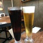 Ibukuronizukyun - ランチ、アイスコーヒー500円とビール。ビールのお値段は失念。