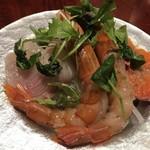 tachikawakkodainingupekori - 鮮魚のカルパッチョ 赤海老・サーモン・かんぱち