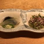 和食と炭火焼 三代目 うな衛門 - 茄子、冬瓜、オクラの炊き合わせとカマス南蛮漬