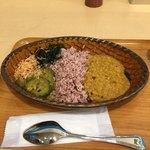 カラピンチャ - 左から、ココナッツのふりかけ、素揚げ空芯菜とカシューナッツの和え物、ゴーヤ煮物、真ん中が、スリランカ赤米、右がレンズ豆のカレー