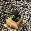 メルモーゾダ ドロカワ - 料理写真:赤むつの上にモロヘイヤとオクラ。その上にキャビア。手前は桃です。このキャビアが素晴らしく美味しかったです。