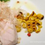 カッフェ・クラシカ - 前菜は大山鶏胸肉の冷菜 焼きトウモロコシと鶏節添え