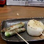 sumiyakigochisouyabanchoushouten - 長芋ホクホク串、オクラの肉巻き串