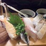 9181935 - 2500円のおまかせ。手前左から鰻、海老、イワシ、シオ。その後ろが左からタコ、イカ、ヒッサゲ、メイチダイ。で、右端にサバ寿司三切れ。