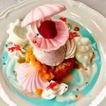 91813132 - マーメイドシェリー(恋する人魚の贈り物)@ヨーグルト、マーブルアイス、珊瑚は小麦粉で作ったお菓子。真珠は巨峰のアイス