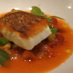 NISHIDERIA Buffa - 伊勢直送鯛のソテー フレッシュに仕上げたカポナータ ブラッドオレンジとガスパッチョ