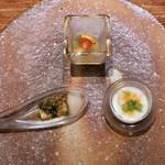 91849184 - カブのピューレ、焼きナスとスッポン、夏野菜のジュレ