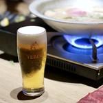 もつ唐と水炊きもつ鍋 由乃 - エビスビール