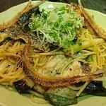 新川にしや - イワシとお葱をたっぷり使った黒胡椒パスタ