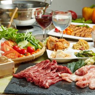 厳選された国産肉を味わえるしゃぶしゃぶコースあり!