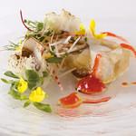 ステーキ石山 - 料理写真:里芋・茸のテリーヌと名残鱧 梅肉風味(ベジテーブルランチコースの一品)