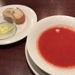 バール・エ・リストランテ・タブリエ - ★★★☆ パスタランチのガスパチョとパン さっぱりしたスープと温かくて香ばしいパン
