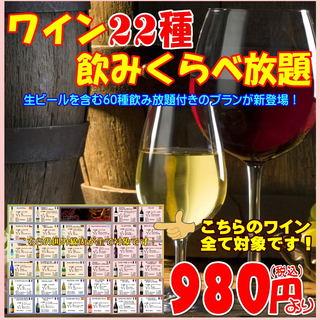色々なワインを味わって!22種飲み比べ放題+60種飲み放題!